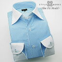 1502 国産長袖純綿ドレスシャツ スリムフィット スカイブルーロンドンストライプ ハンドステッチクレリックワイドカラーメンズ fs3gm