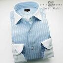 C-1505 国産長袖純綿ドレスシャツ スリムフィット クレリックラウンドカラー ブルー&レッドオルタネイトストライプメンズ fs3gm
