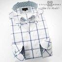 1508 国産長袖ドレスシャツ スリムフィット 綿100 ボタンダウンカラー ブルーウィンドウ(ウィンドーぺーン)チェックメンズ fs3gm