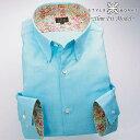1607 国産長袖綿100ドレスシャツ スリムフィット ショートスナップダウン エメラルドブルーロイヤルオックスフォードメンズ fs3gm