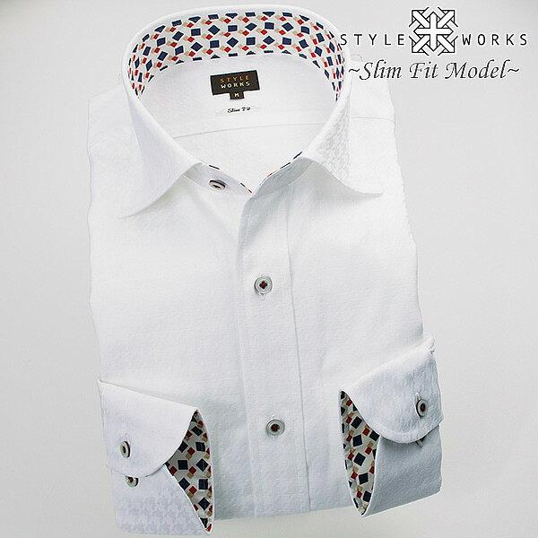 1610 国産長袖綿100ドレスシャツ スリムフィット ワイドカラー ホワイトジャガード千鳥格子メンズ fs3gm