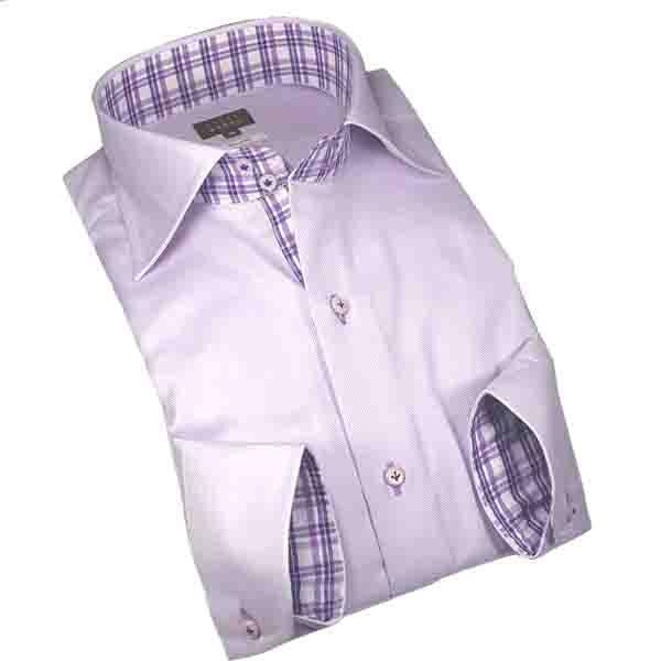 国産綿100長袖オリジナルドレスシャツ コンフォート ドゥエワイドカラー パステルパープルロイヤルオックスメンズ fs3gm