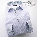 1409 日本製長袖綿100%ドレスシャツ コンフォート パープルグラデーションチェック ショートカッタウェイワイドカラー