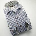 1404 日本製長袖綿100%ドレスシャツ コンフォート カッタウェイワイドカラー ブラウン・スカイ/マルチカラーチェック
