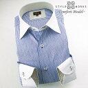 1510 国産綿100長袖ドレスシャツ コンフォート ブルーオルタネイトストライプ クレリックワイドカラーメンズ fs3gm