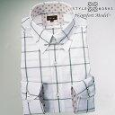 1605 国産綿100長袖ドレスシャツ コンフォート タイバー付きレギュラーカラー グレーウィンドウチェックメンズ fs3gm