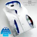 C-1307 国産7分袖丈ドレスシャツ Sスリムフィット 綿100 ホワイトジャガード千鳥格子 ハンドステッチカッタウェイ fs04gm
