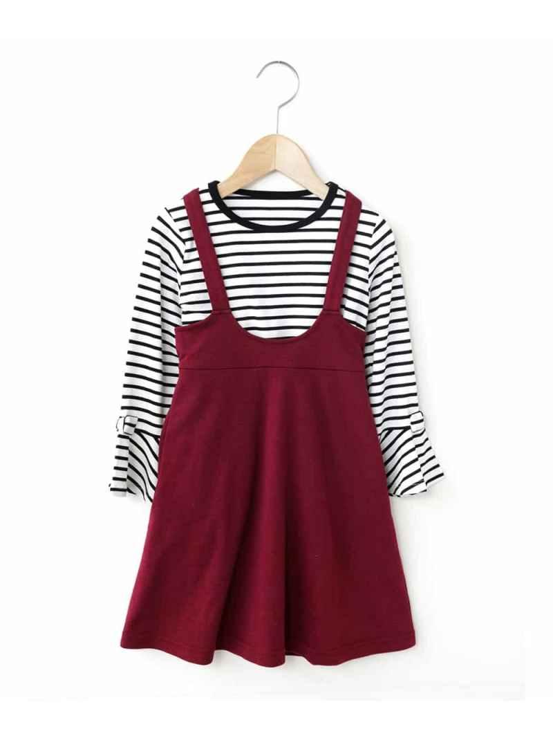 SALE/57%OFFavvKIDS[100-130]袖リボンカットソー×フレアジャンバースカート[