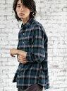 coen カラーブロックネルチェックシャツ(WEB限定サイズXS有り) コーエン シャツ/ブラウス 長袖シャツ グリーン ベージュ
