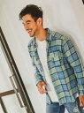 BAYFLOW インディゴチェックシャツ ベイフロー シャツ/ブラウス 長袖シャツ ネイビー ベージュ レッド【送料無料】