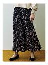 【SALE/50%OFF】COTORICA. 花柄切替スカート コトリカ スカート フレアスカート ブラック ベージュ
