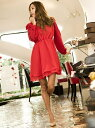 【SALE/37%OFF】Million Carats ショルダーリボンワンピ[DRESS/ドレス] ミリオンカラッツ アウトレット ワンピース 長袖ワンピース レッド ピンク ブラック【送料無料】