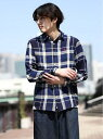 【SALE/25%OFF】GIORDANO インディゴチェックシャツ ジョルダーノ シャツ/ブラウス 長袖シャツ ネイビー ブルー