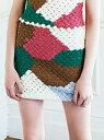 【SALE/45%OFF】Lily Brown かぎ針カラーブロックスカート リリーブラウン スカート【RBA_S】【RBA_E】【送料無料】
