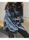 Girly Doll girlydoll/オーバーチェックシャツ ドゥーラ ドゥーラ シャツ/ブラウス 長袖シャツ ブラウン ベージュ ブルー【送料無料】