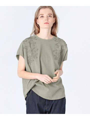 【SALE/50%OFF】RNA-N コード刺繍フレンチスリーブTシャツ アールエヌエーエヌ カットソー Tシャツ カーキ ブラウン グレー【送料無料】
