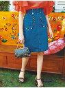 Lily Brown メキシコ刺繍デニムスカート リリーブラウン【先行予約】*【送料無料】