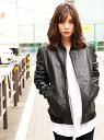 【SALE/50%OFF】DETAILS DETAILS women/NEW MA-1 Leather Riders バッグインザデイ コート/ジャケット ブルゾン ブラック【送料無料】