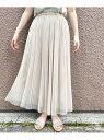 【SALE/70%OFF】le.coeur blanc チュールプリーツスカート ルクールブラン スカート プリーツスカート/ギャザースカート ベージュ ブラック