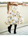 Perle Peche eclatフラワータックギャザースカート ペルルペッシュ スカート プリーツスカート/ギャザースカート ピンク ホワイト【送料無料】