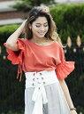 【SALE/37%OFF】Million Carats フレアスリーブTOPS[DRESS/ドレス] ミリオンカラッツ アウトレット カットソー Tシャツ レッド ホワイト ブラック【送料無料】