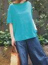 【SALE/50%OFF】INTERPLANET INTERPLANET/(W)LINEN100クルーネックBIG T インタープラネット カットソー Tシャツ グリーン グレー ネ..