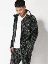 SHIFFON 4WAY総柄グラフィックスタンドネックジャケット シフォン カットソー パーカー ブラック ホワイト【送料無料】