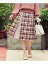 Feroux 【洗える】ウィンターカラーチェック スカート フェルゥ スカート スカートその他 ベージュ グレー【送料無料】