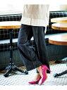 Ranan きれい見えワイドデニム ラナン パンツ/ジーンズ ワイド/バギーパンツ ネイビー ホワイト ブルー【送料無料】