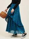 【SALE/10%OFF】The Virgnia 小花ドットジャガードティアードスカート ザ ヴァージニア スカート ロングスカート グリーン ネイビー【送料無料】