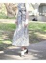 【SALE/50%OFF】ef-de L size 《大きいサイズ》ペタルレオパード柄スカート《Maglie par ef-de》 エフデ エルサイズ スカート ロングスカート【送料無料】