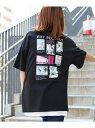 【SALE/20%OFF】SocialGIRL ビッグサイズバックプリントフォトTシャツ ソーシャルガール カットソー Tシャツ ブラック ホワイト グレー
