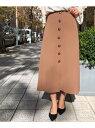 【SALE/60%OFF】Perle Peche カルゼフロントボタンスカート ペルルペッシュ スカート スカートその他 ブラウン ネイビー【送料無料】