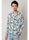 【SALE/65%OFF】BLUE TORNADO∴パイナップル柄オープンカラーシャツ トルネードマート シャツ/ブラウス【RBA_S】【RBA_E】