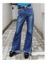 ショッピングジーンズ EMODA ボタンスリットヘムジャストウエストジーンズ エモダ パンツ/ジーンズ ジーンズその他 ブルー【送料無料】