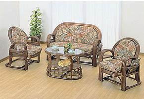 ラタンリビングテーブル&チェアー籐製リビングテーブル&チェアー【4点セット】