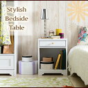 ベッドサイドチェスト ベッド テーブル コンセント付き ホワイト 姫系