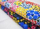 綿麻モーリークロス北欧フィンランドテキスタイルデザイン【parveke】パルヴェケ(バルコニー)バルコニーの花いっぱいのプランターの様なかわいい柄です。PIKKU SAARI ピックサーリERI SHIMATSUKAさんによるテキスタイルデザインです。
