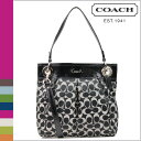 ● [Father's Day] tomorrow comfortable coach COACH shoulder bag 2way [F17599] black X white Ashley signature satin hippie lady's regular outlet free shipping
