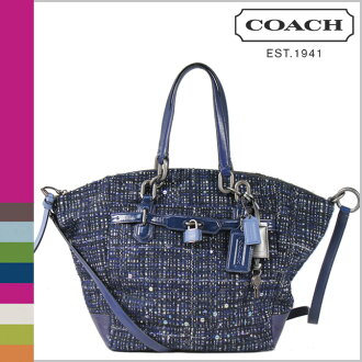 Coach COACH shoulder bag 2-Way Navy x multi-color Chelsea buckle Emerson satchel ladies