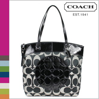 Coach COACH Tote Bag Black x white Laura signature ladies