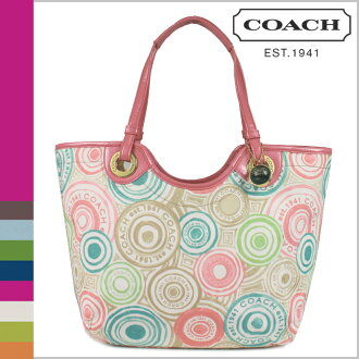 Multi-color Beach print women's coach COACH tote bag