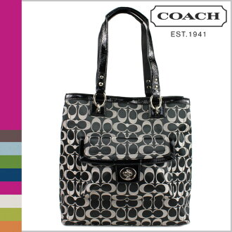 Coach COACH tote bags black white x black Penelope signature NS ladies