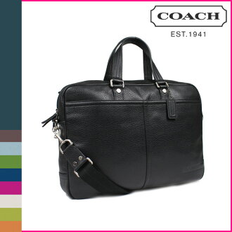 Coach COACH men's business bag 2-Way black pebbled leather trans Atlantic small commuter