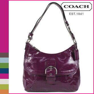 Coach COACH shoulder bag plum SOHO patent flap Duffle women's