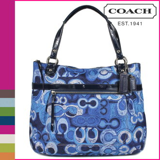 Coach COACH poppy POPPY tote bag blue / multicolor printed denim g ladies