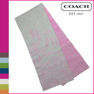 Coach COACH scarf grey x ladies purple ロゼンジ muffler