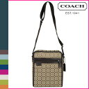 Coach COACH men shoulder bag [F70698] khaki brown signature jacquard canvas flight bag regular outlet free shipping tomorrow comfort [Father's Day]