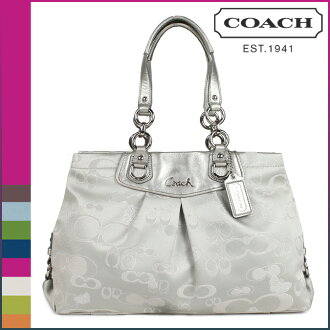 Coach Ashley signature gallery, COACH tote bag grey Lurex carryall women's