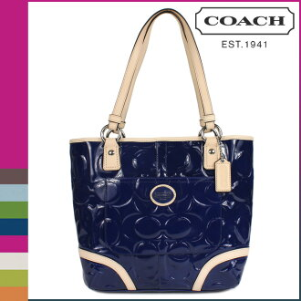Coach COACH tote bag Navy / Tan Peyton embossed patent Womens